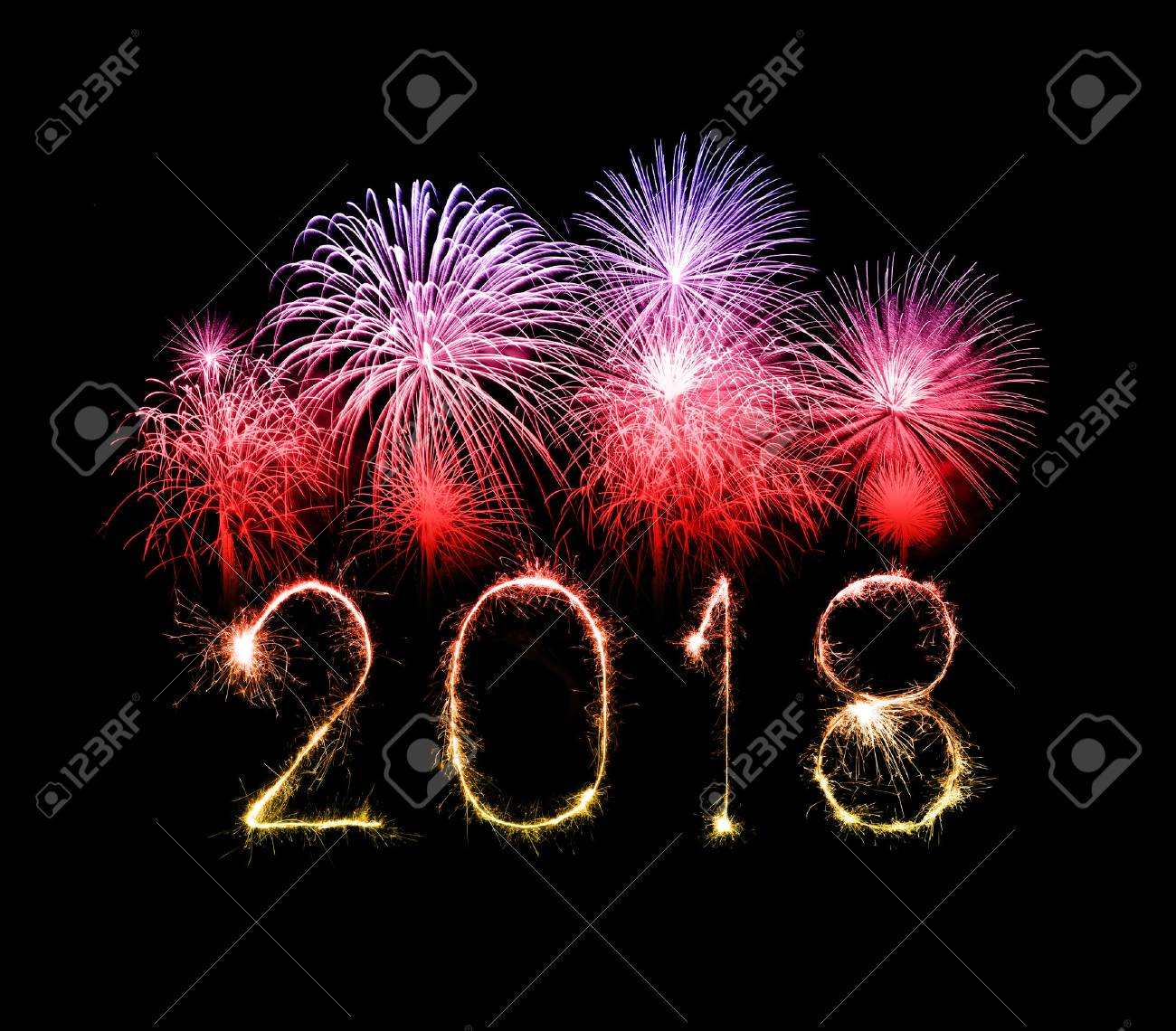 Happy new year 2018 written with Sparkle firework at night - 87176963