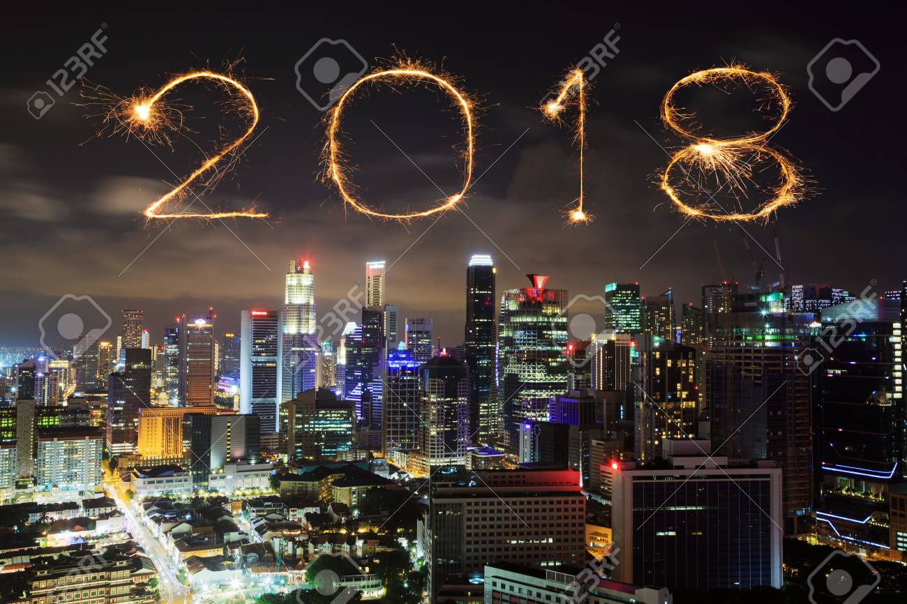 2018 happy new year firework sparkle with singapore cityscape at night stock photo 87323732