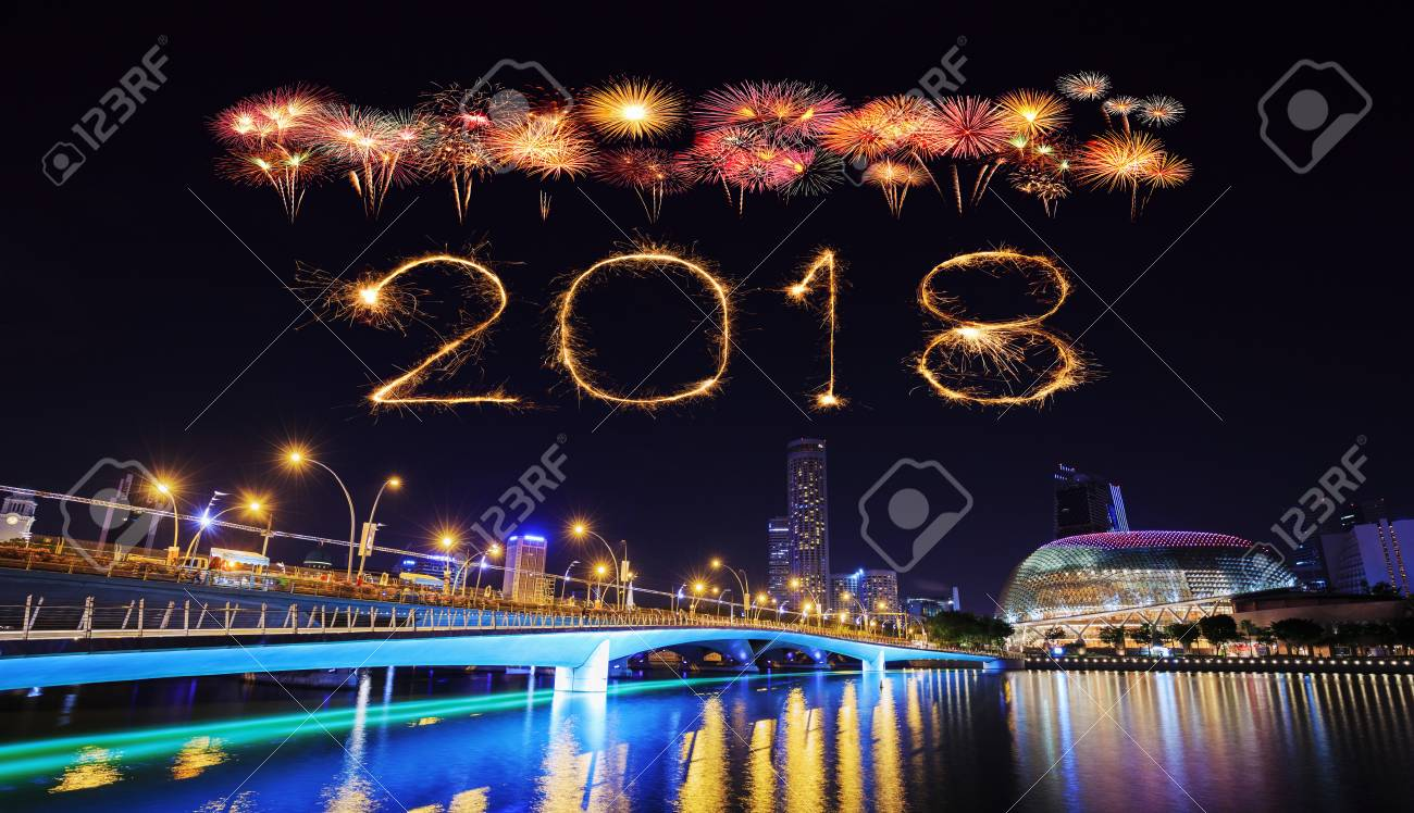 2018 happy new year firework sparkle with singapore cityscape at night stock photo 89902641