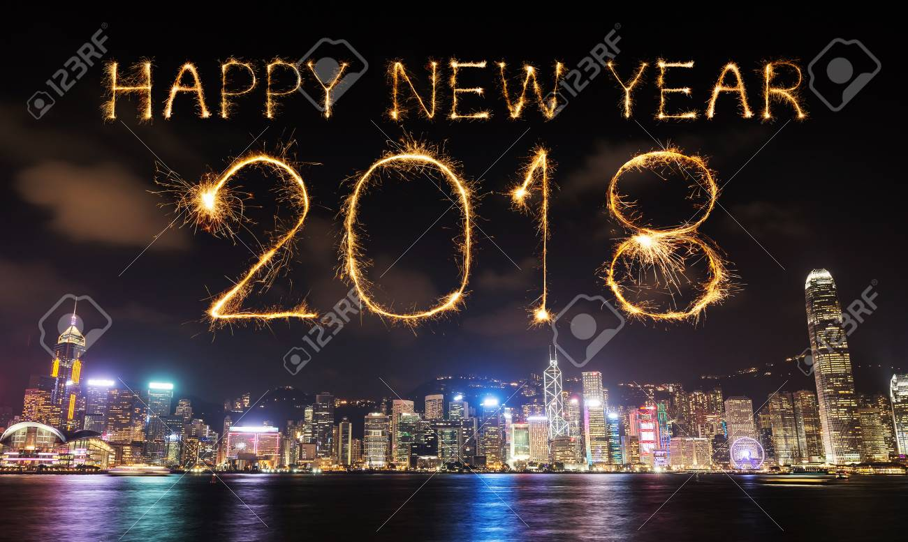 2018 happy new year firework sparkle with hong kong cityscape at night stock photo 87480302