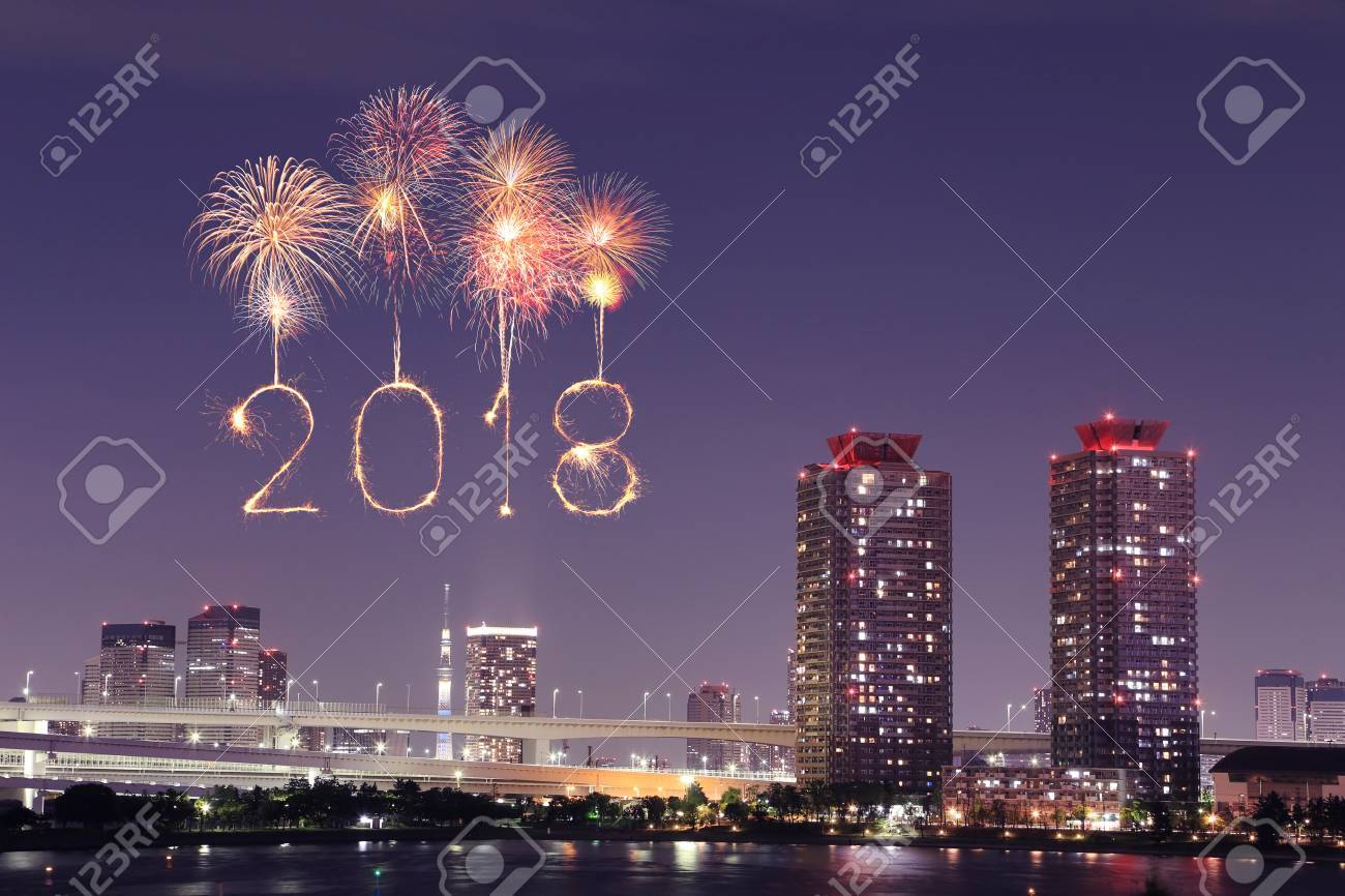 2018 happy new year firework sparkle at night odaibatokyo cityscape japan stock