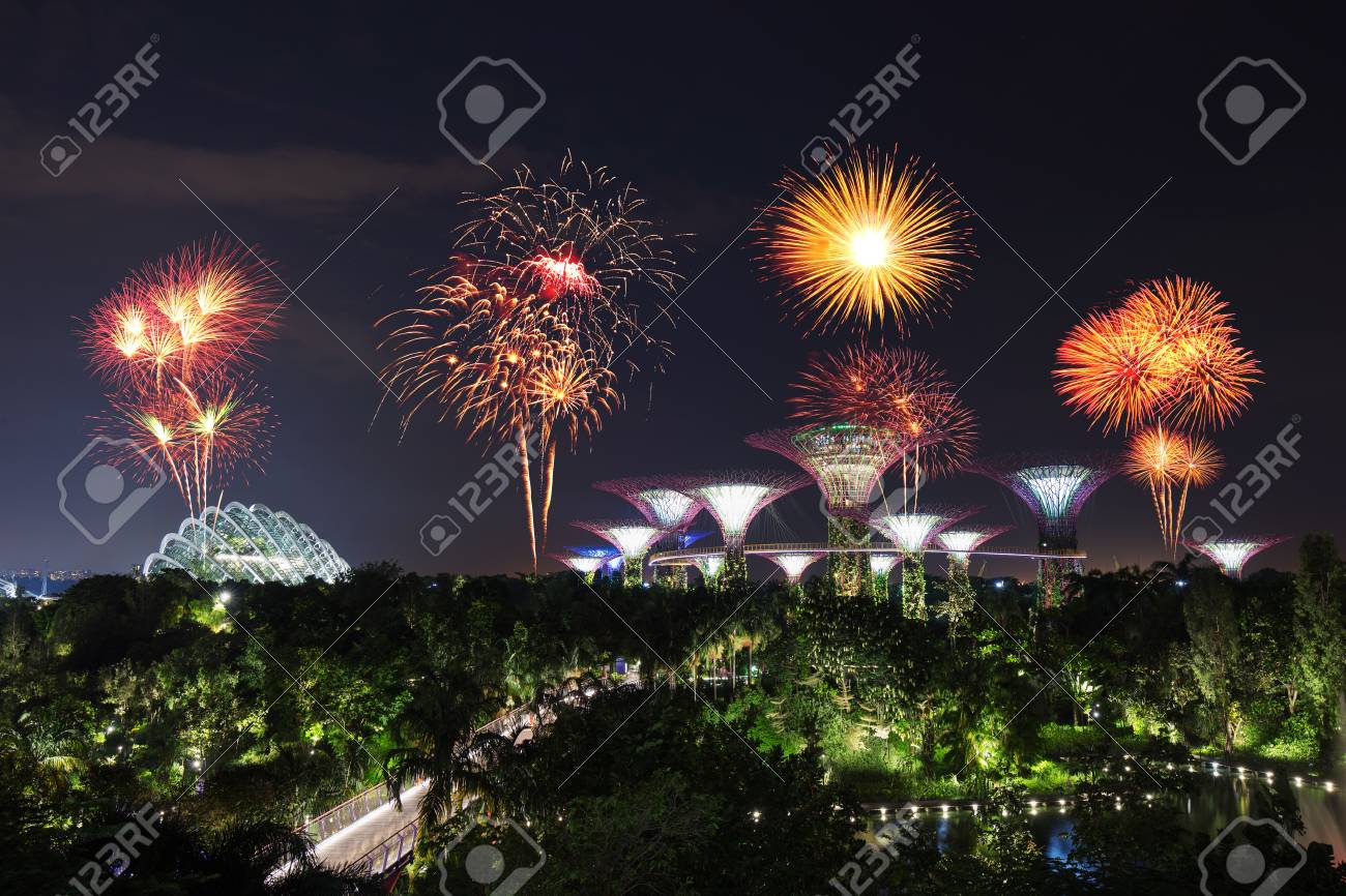 beautiful firework over gardens by the bay with light at night singapore stock photo - Garden By The Bay Fireworks