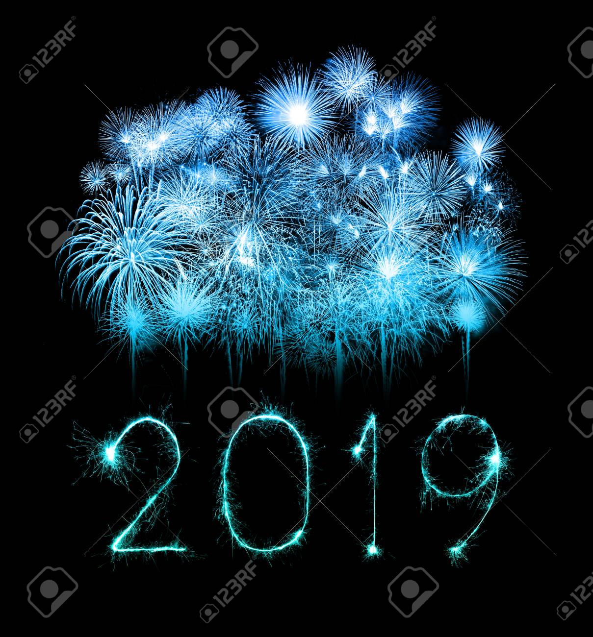 2019 happy new year written with Sparkle firework - 110399331