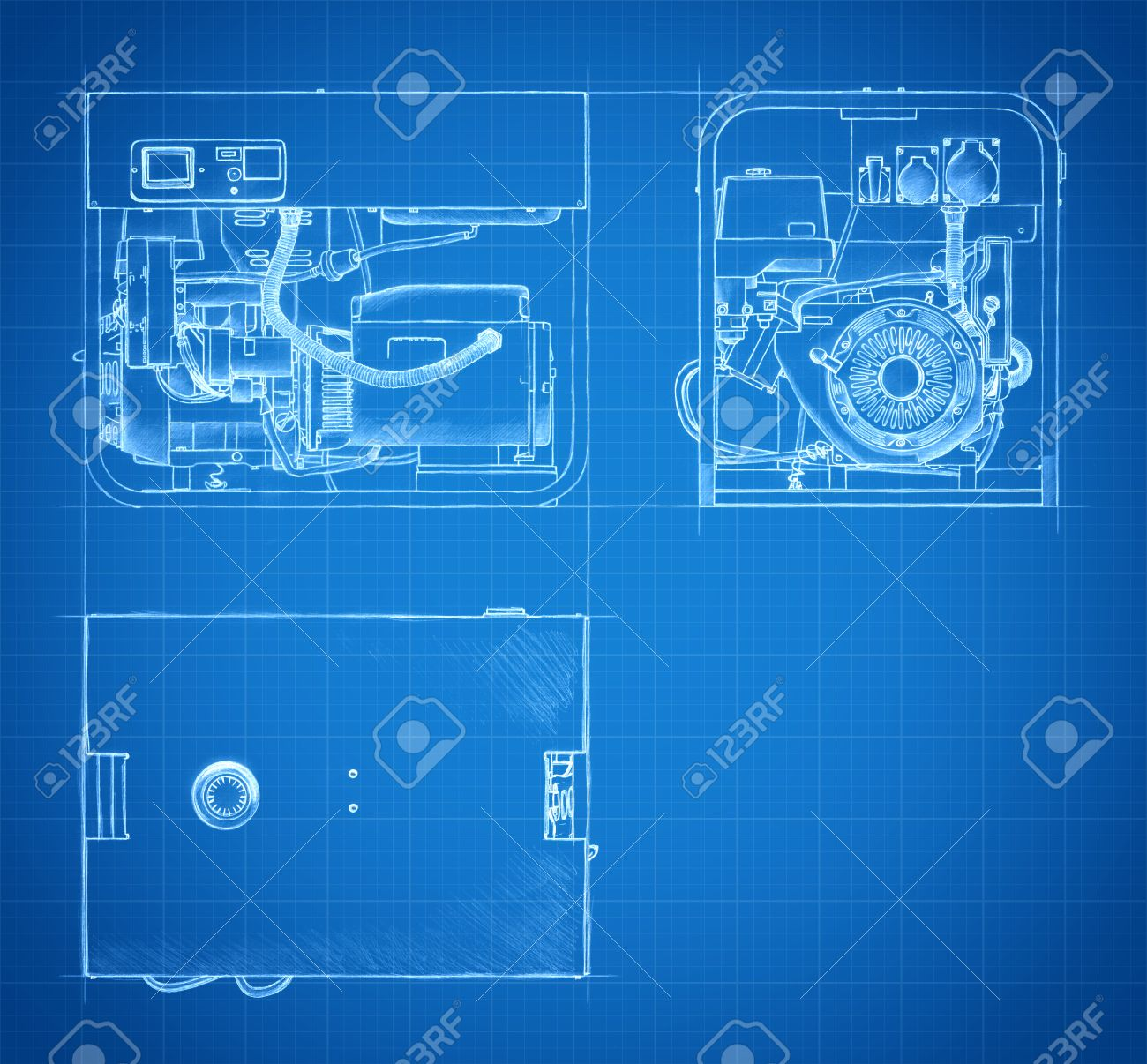 Blueprint of gasoline generator set engineering drawings and stock blueprint of gasoline generator set engineering drawings and sketches stock photo 34527436 malvernweather Gallery