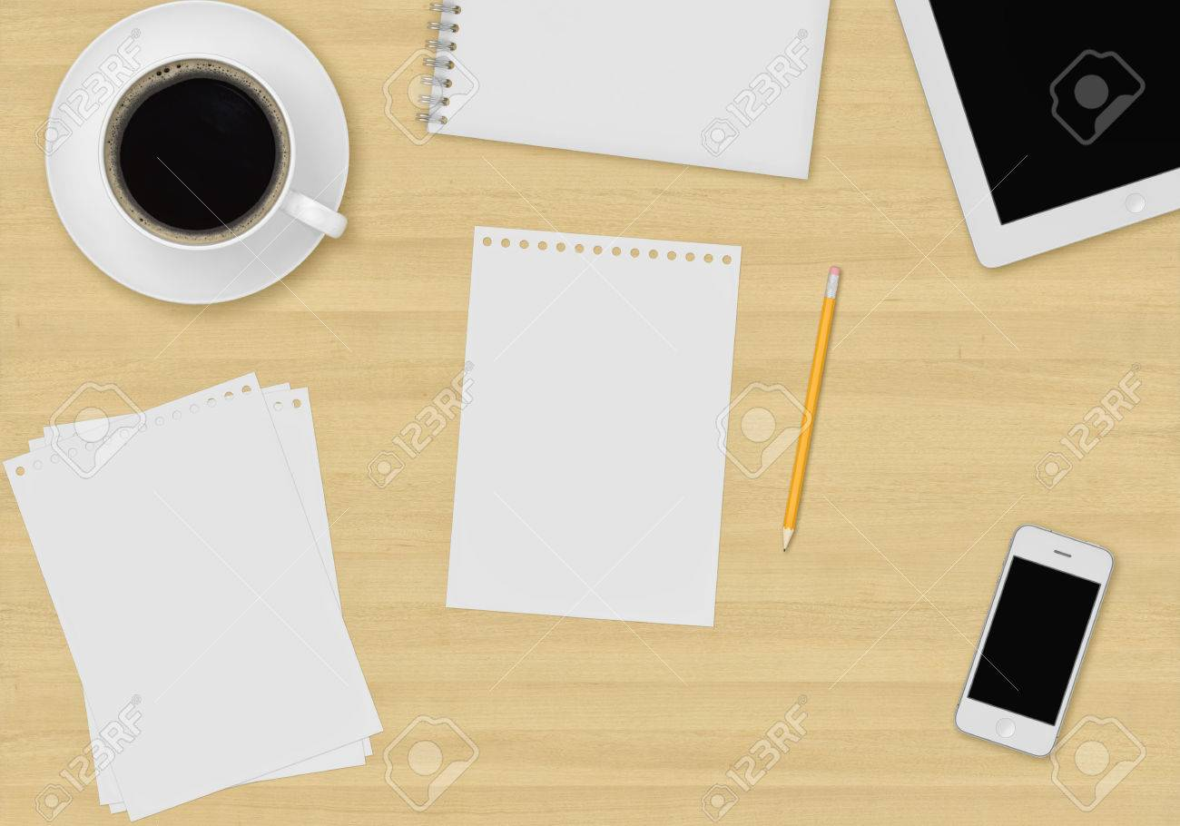 top office table cup. top office table with cup of coffee paper note pencil tablet and