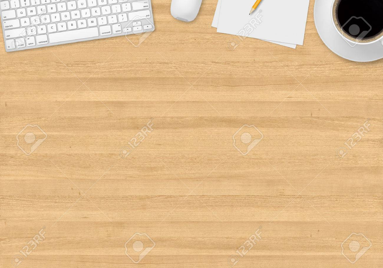top office table cup. Stock Photo - Top Office Table With Cup Of Coffee, Papers, Pencil, Mouse And Keyboard L