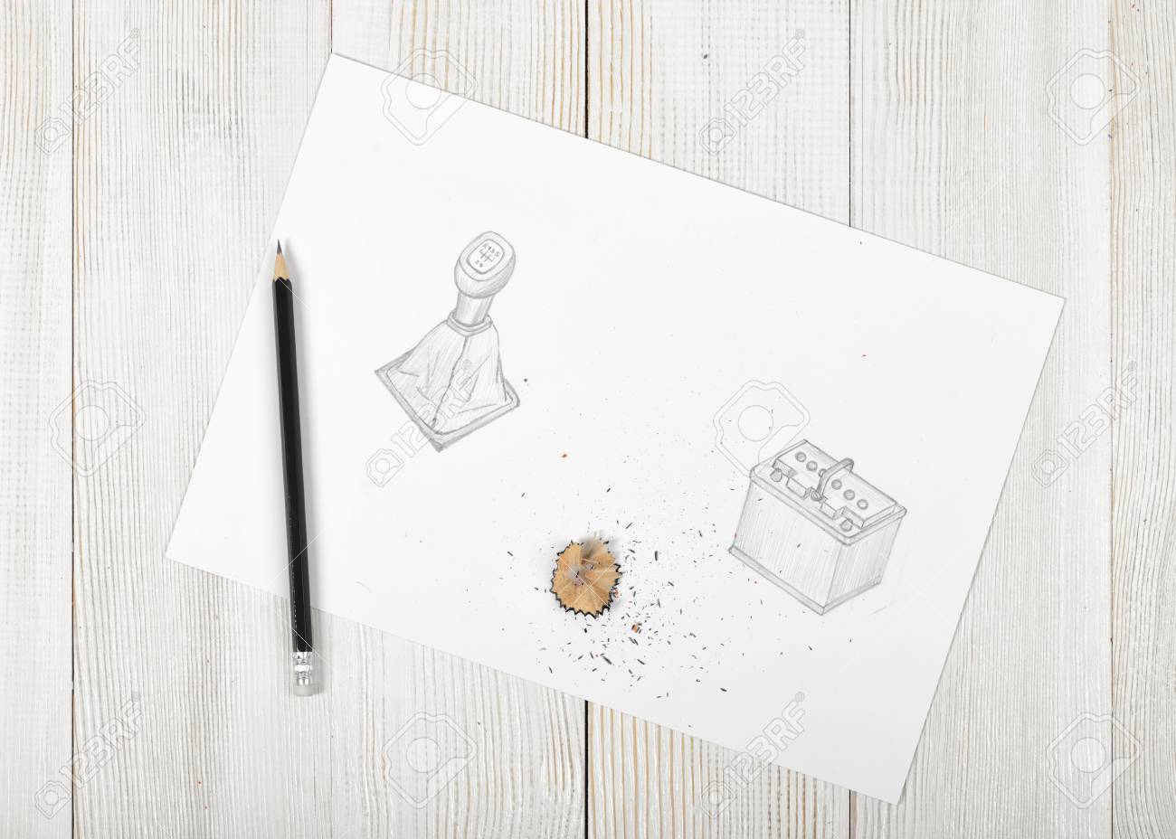 Work place of artist with soft black pencil and shavings sketch