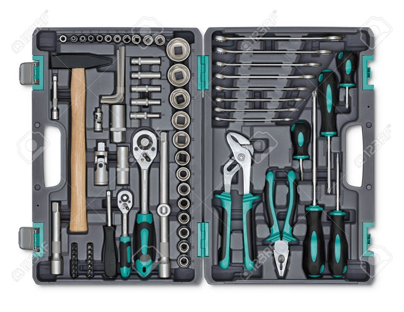 Close Up Open Toolbox Construction Instruments And Tools Set