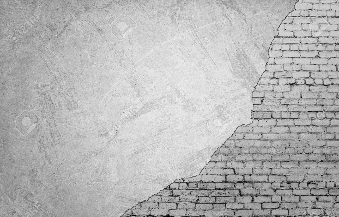 weißes mauerwerk unter der betonmauer texturierte suface halb