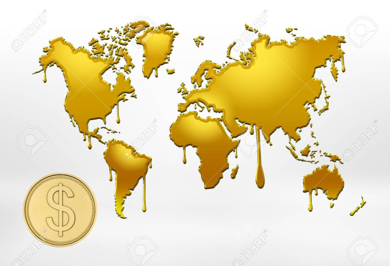 3d rendering of golden outlines of world map with smudges and big coin with the dollar