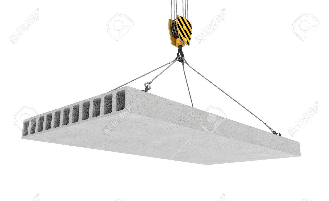 3d rendering of concrete slab hanging on a hook with four ropes