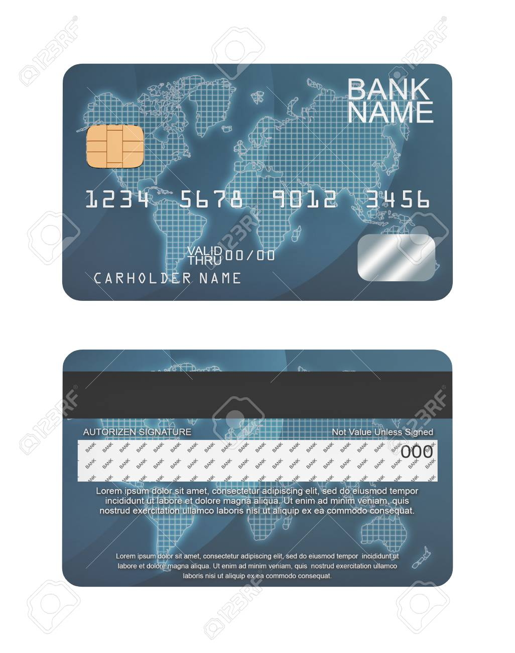 10d rendering of a generic credit card in blue color and random..