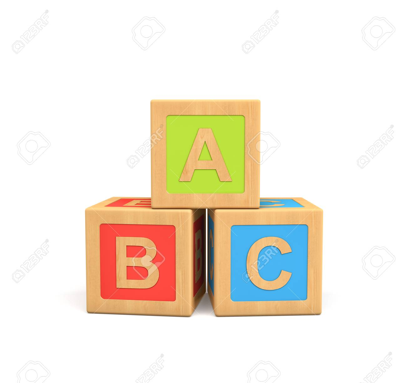 Representación 3d de tres cubos de juguete de madera con letras abc aislados sobre fondo blanco .