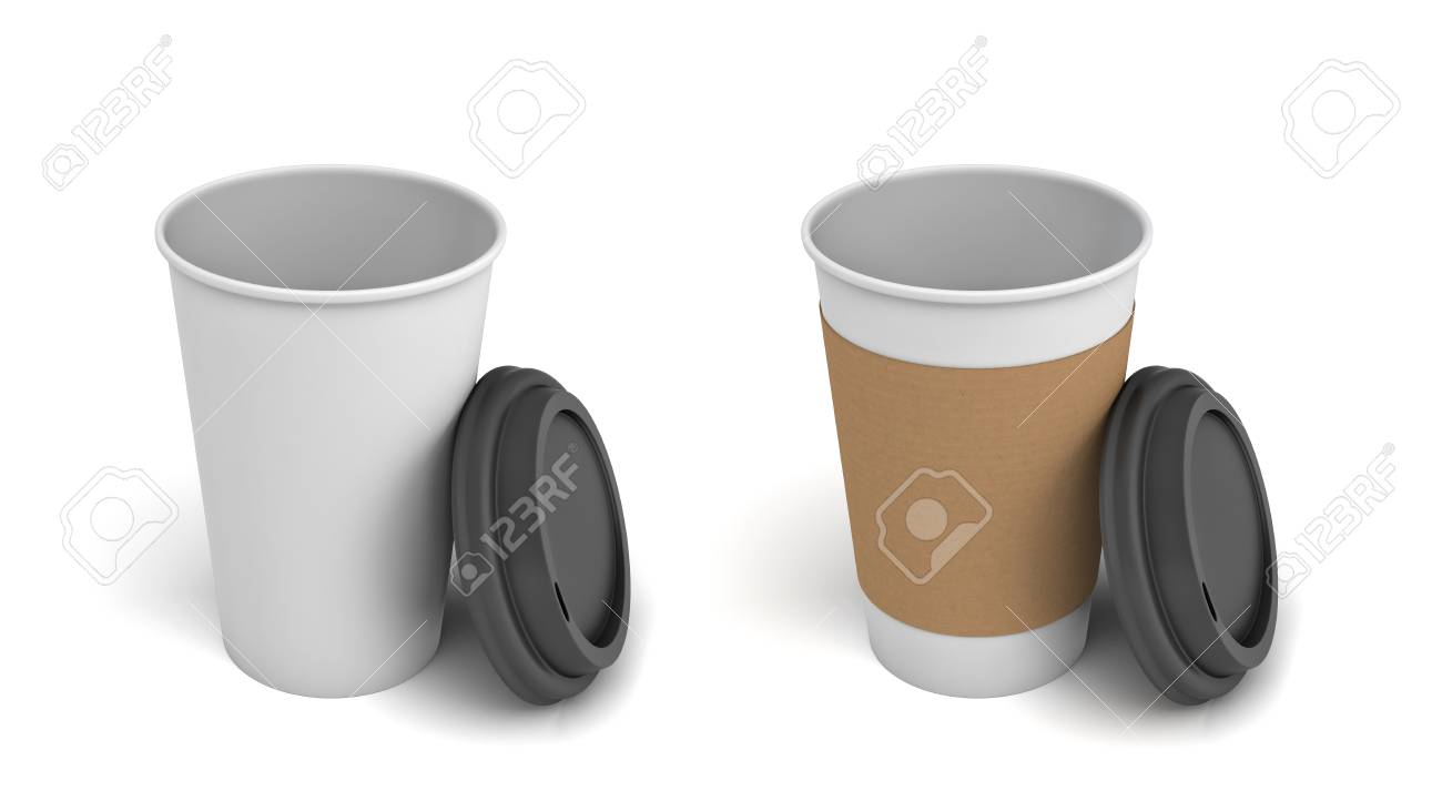 69de5602471 3d rendering of two white paper coffee cups with open black lids,..