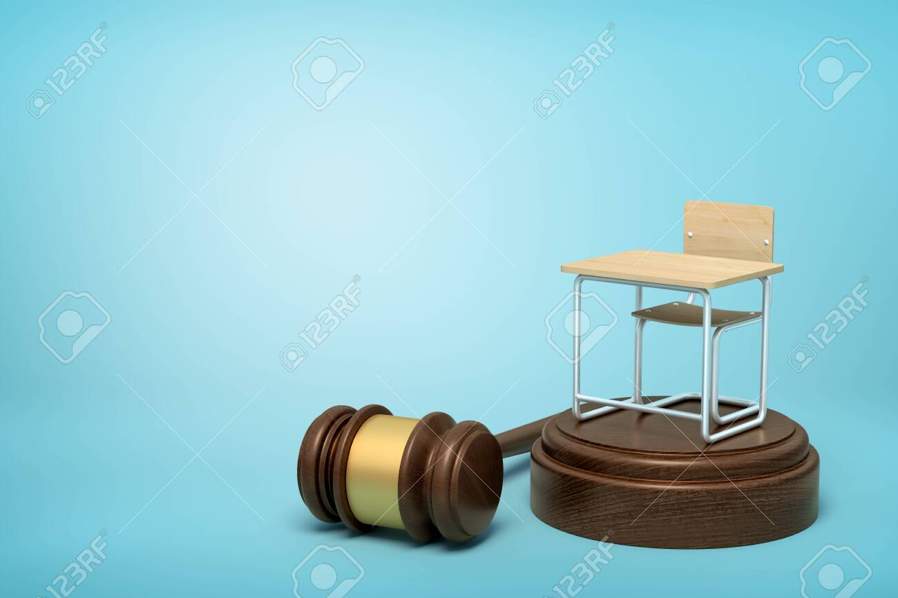 3d rendering of small single seat desk standing on brown sound block with gavel lying beside block on light-blue background with copy space. - 126252911