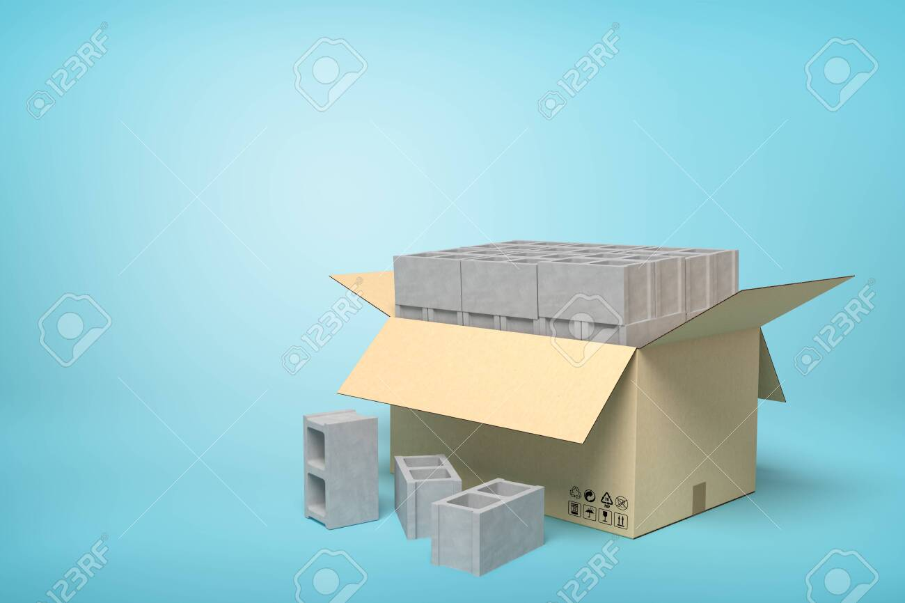 3d rendering of cardboard box full of gray hollow bricks on blue background. - 130509865