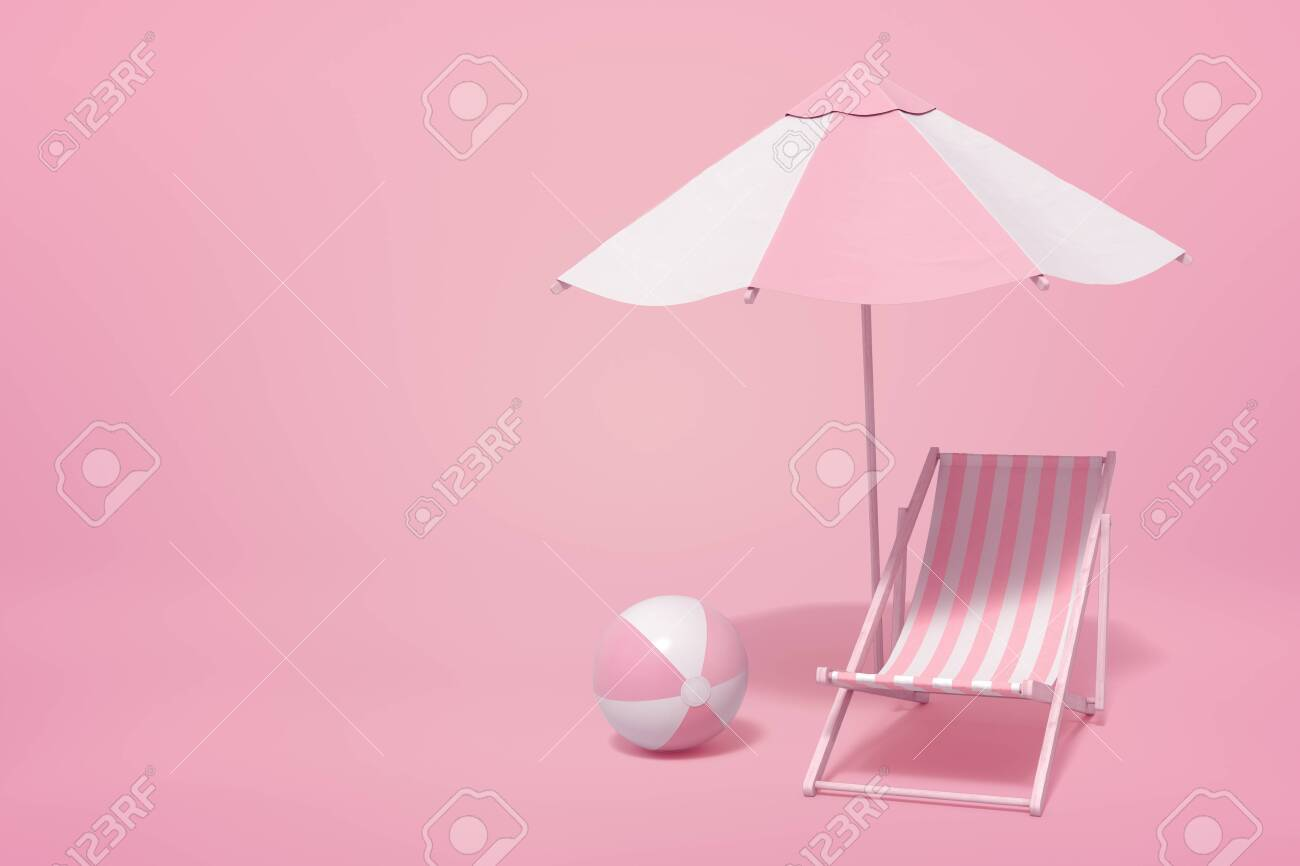 3d Rendering Of Striped White And Yogurt Pink Beach Umbrella Stock Photo Picture And Royalty Free Image Image 144250139