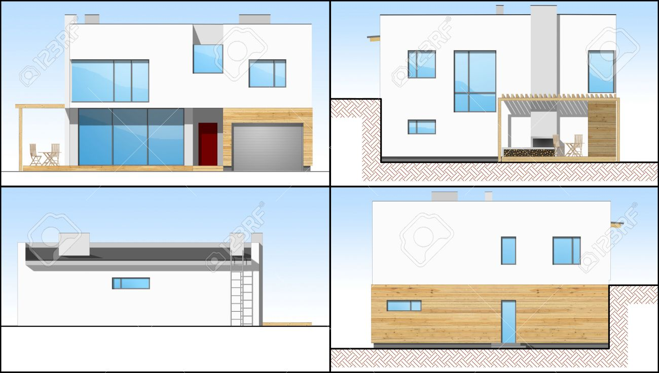 Four 2d sides of an individual modern house stock photo 3430587
