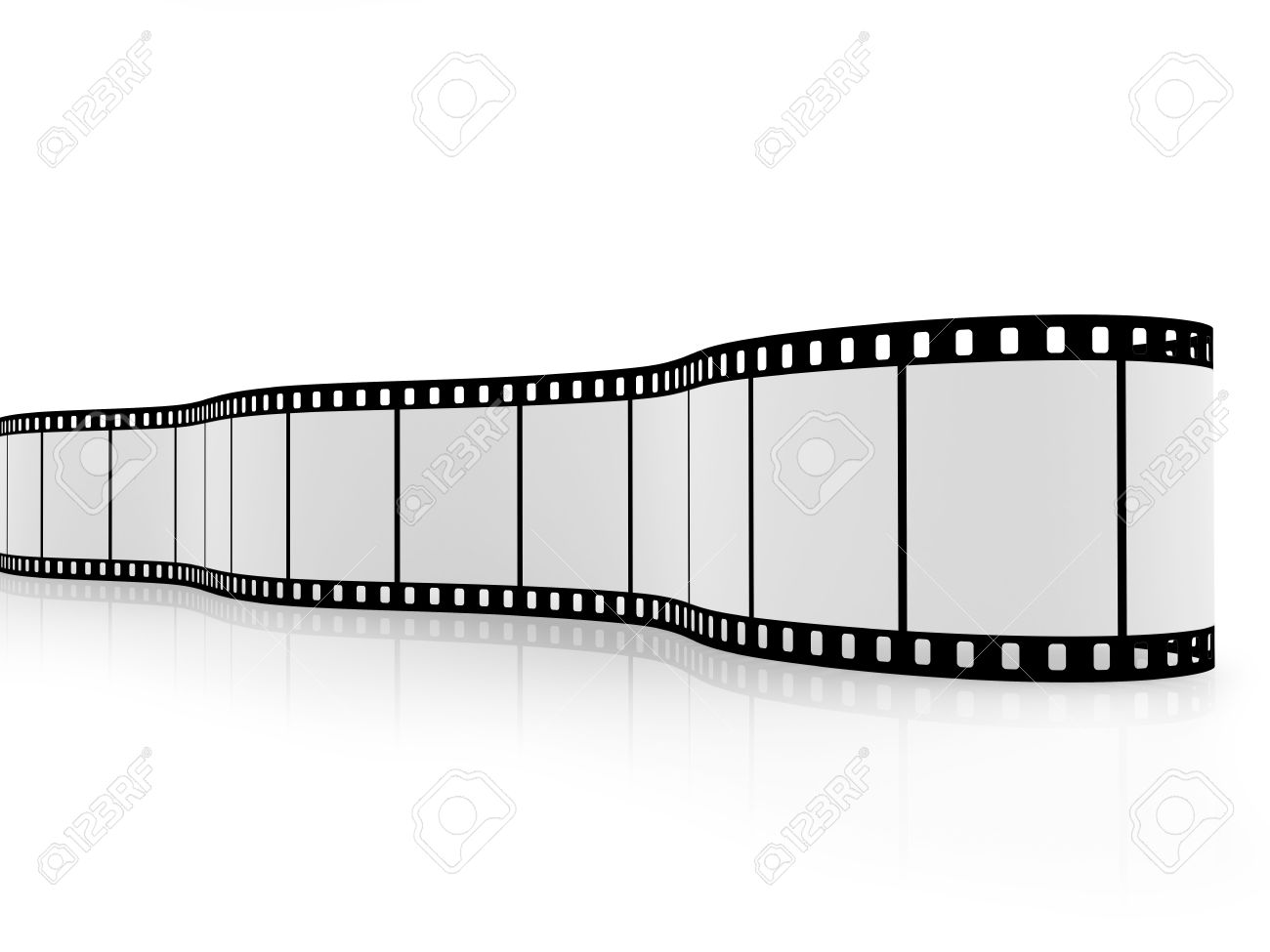 Blank film strip isolated on white with reflections on the floor. Stock Photo - 6137055
