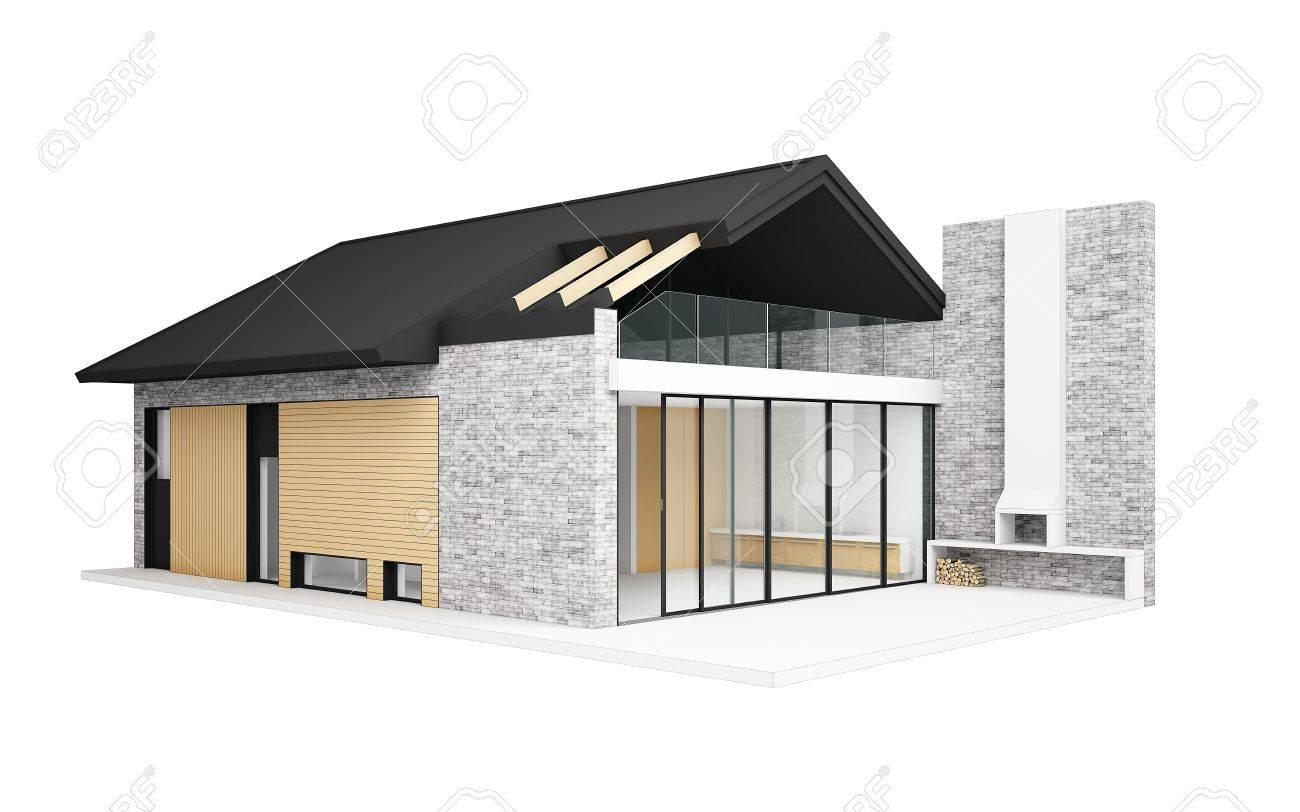 Petite Maison Moderne Isole Sur Blanc 3d Generee Par Ordinateur