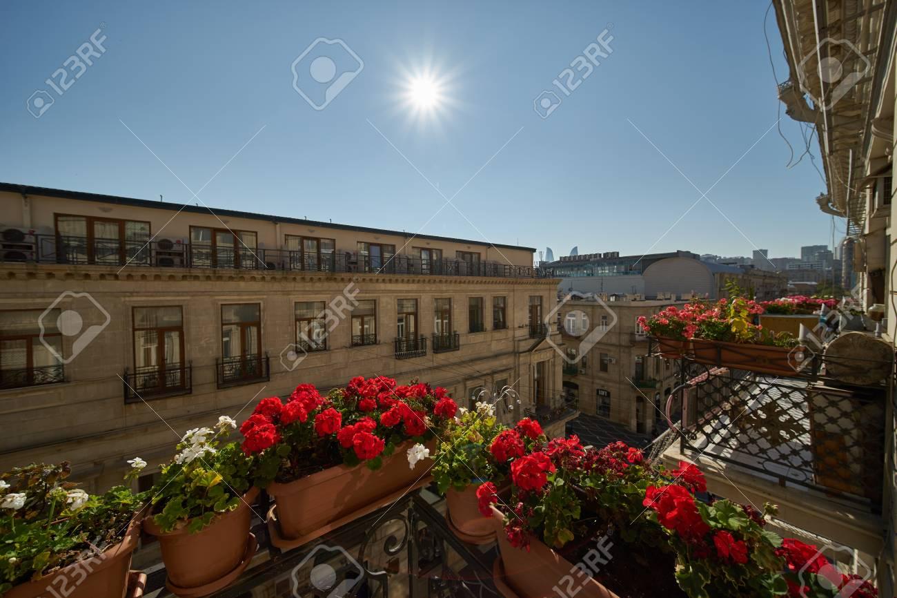 Hermoso Diseño De Paisaje De Edificios Urbanos Vista Desde La Terraza Decorada Con Flores Contra El Cielo Azul Y El Sol En Un Cálido Día De Primavera