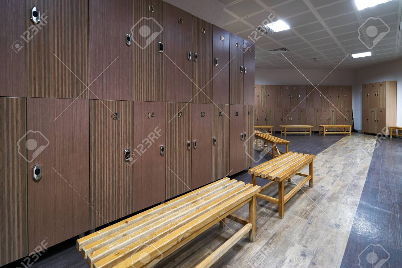 Interior of gym locker room luxury and clean dressing room with