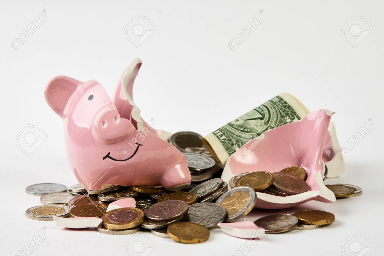 Broken Piggy Bank With Coins Money Isolated On White Background ...