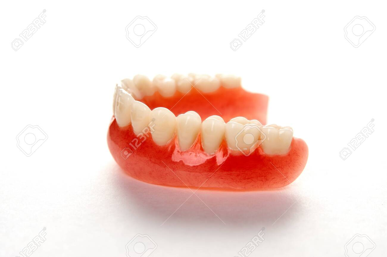 Artificial teeth on a white background with copy space  Dentist