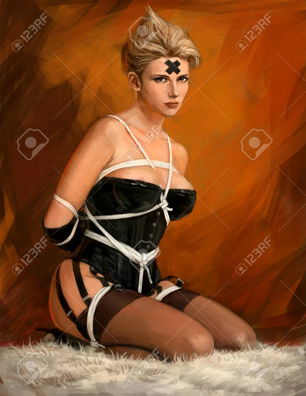 Related Sexy girl in latex and stockings. Picture of a hot girl for a poster