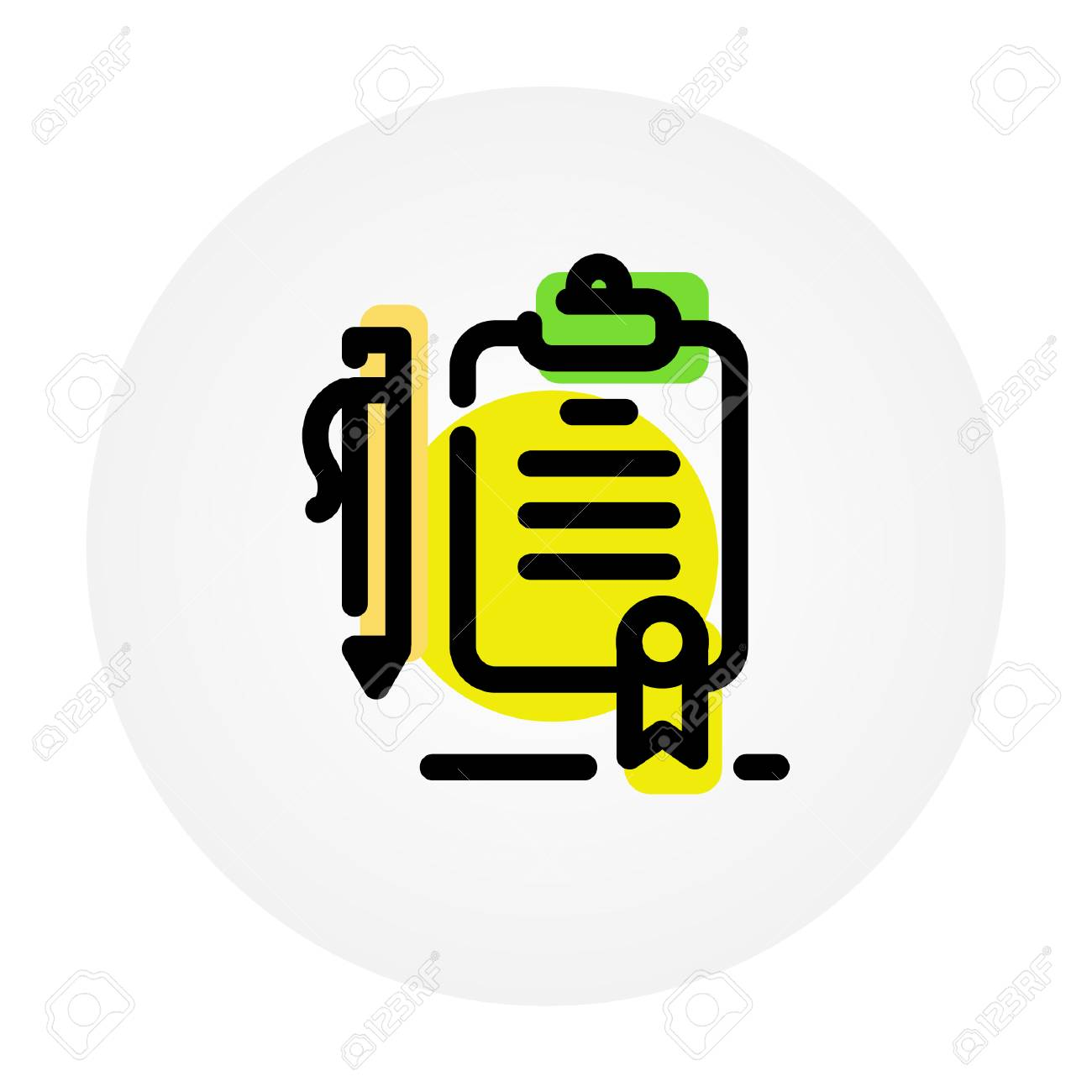 List Of Important Cases Icon Of The Tablet Folder And Pens