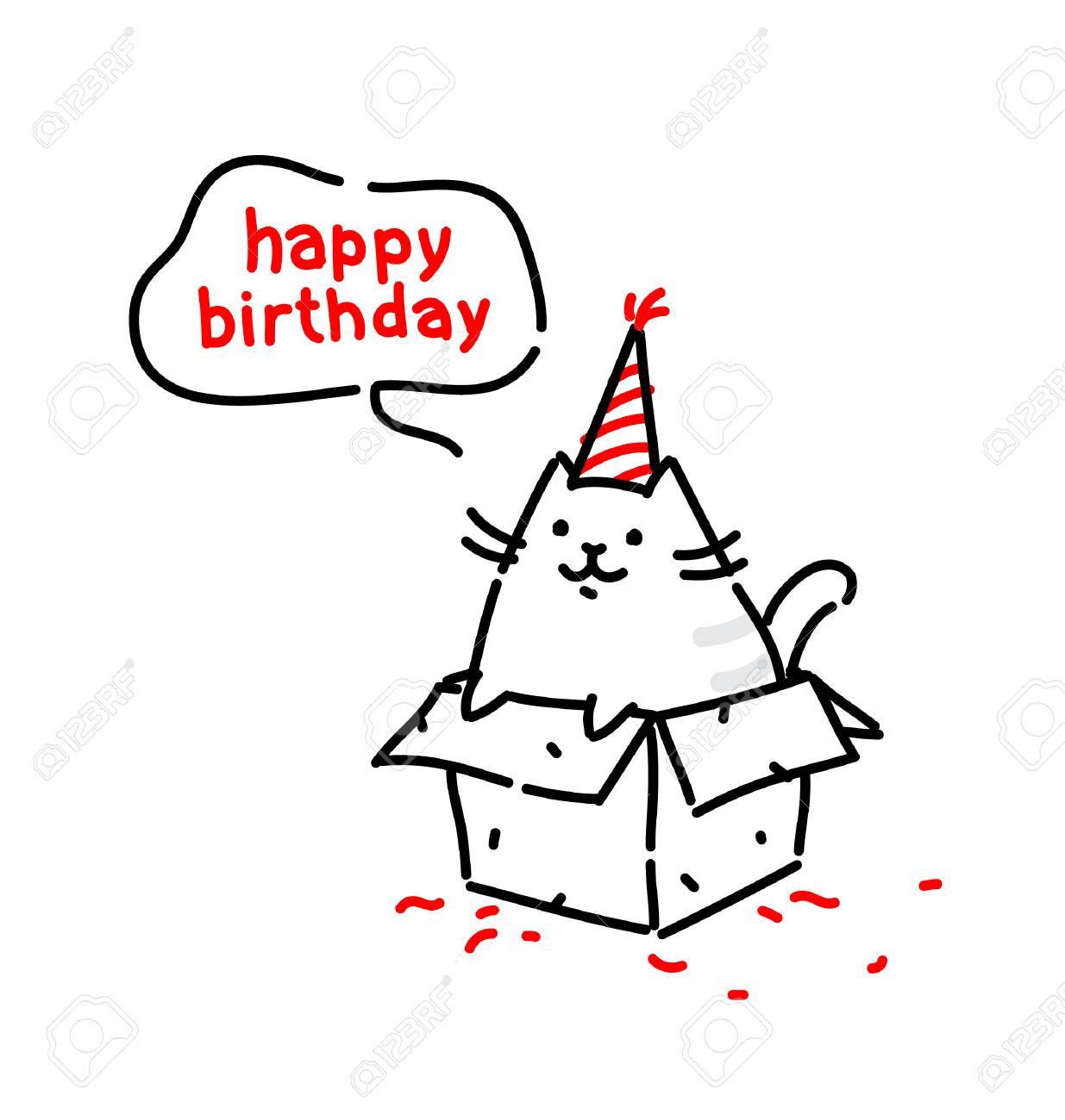 Cartoon Funny Cat Congratulates On His Birthday Vector Flat Illustration The Character Is