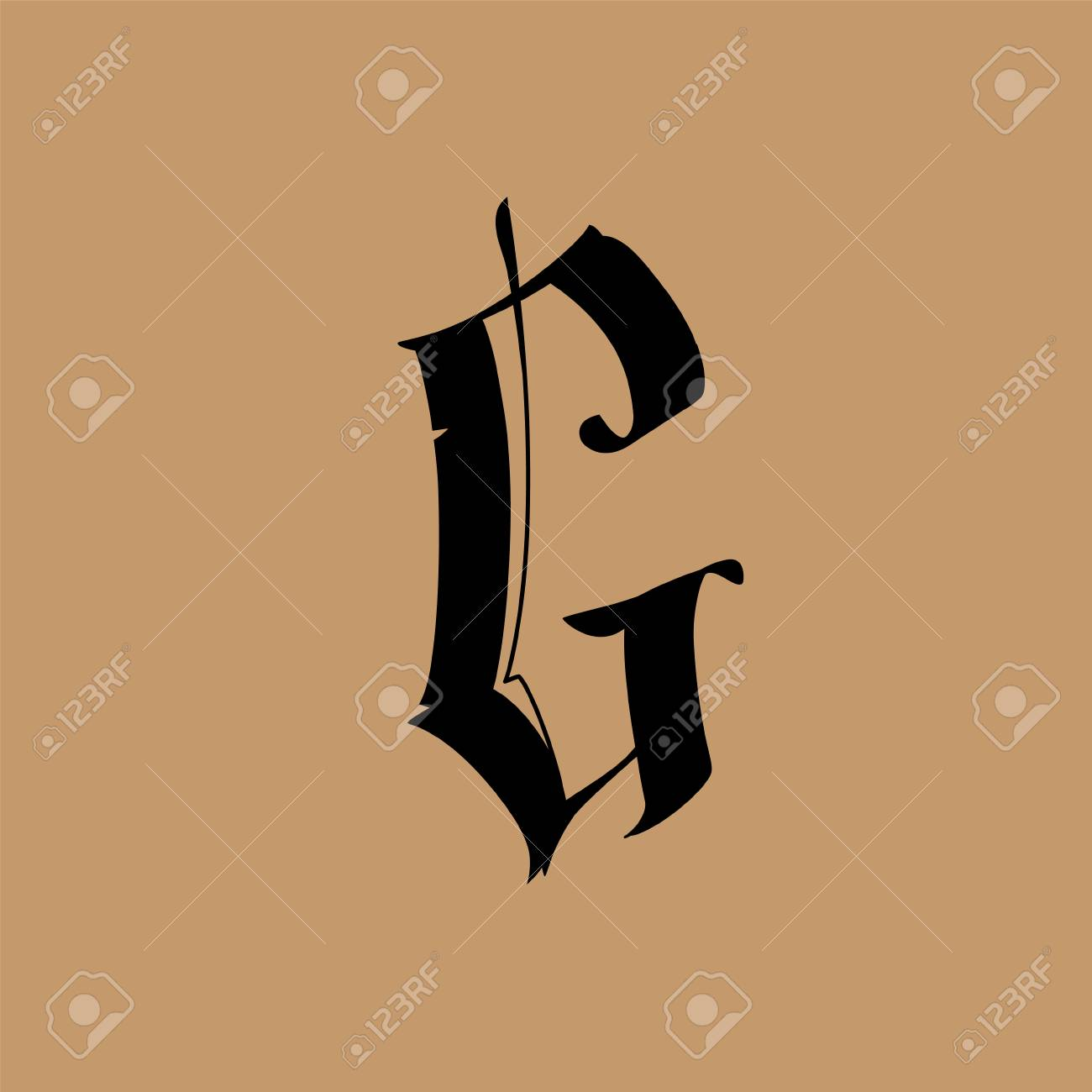 Letter G, in the Gothic style. Vector. Alphabet. The symbol is isolated on a golden background. Calligraphy and lettering. Medieval Latin letter. Logo for the company. Monogram. Elegant font for tattoo. - 106696835
