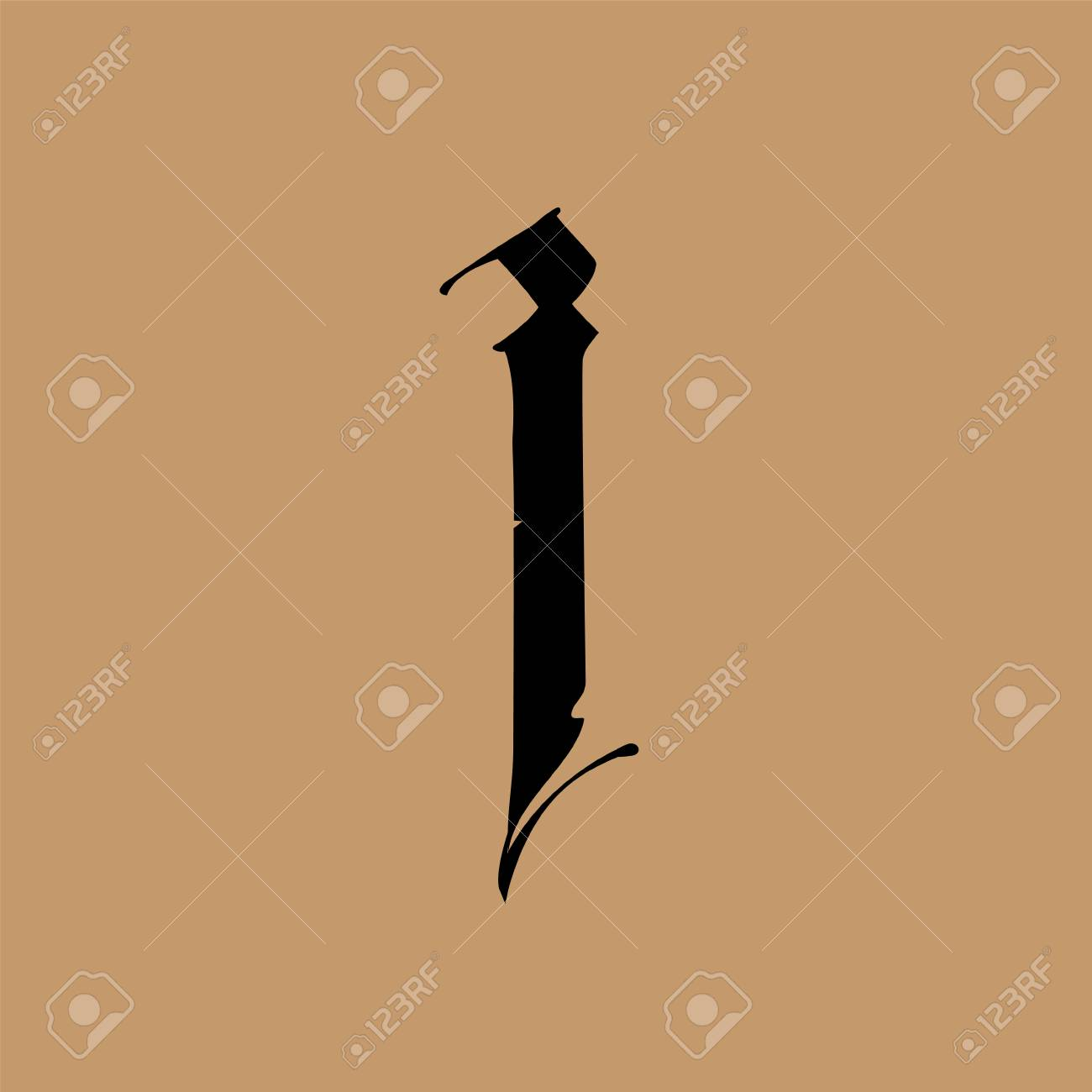 Letter I, in the Gothic style. Vector. Alphabet. The symbol is isolated on a golden background. Calligraphy and lettering. Medieval Latin letter. Logo for the company. Monogram. Elegant font for tattoo. - 106696837