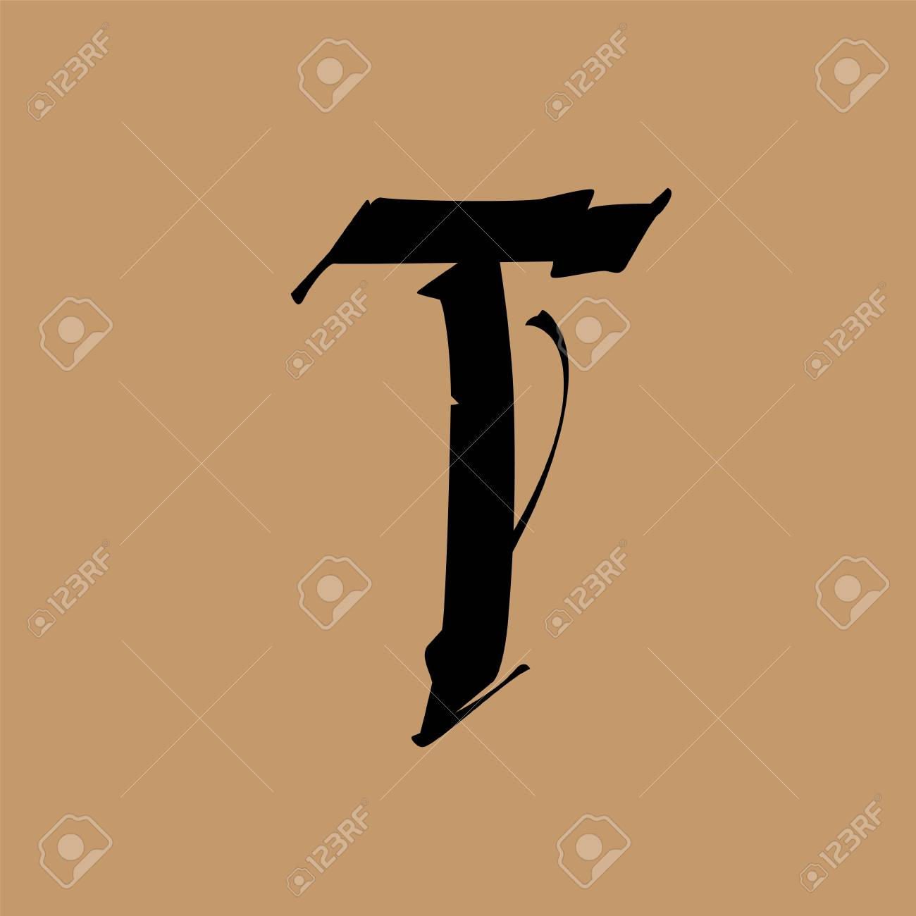 Letter T, in the Gothic style  Vector  Alphabet  The symbol is
