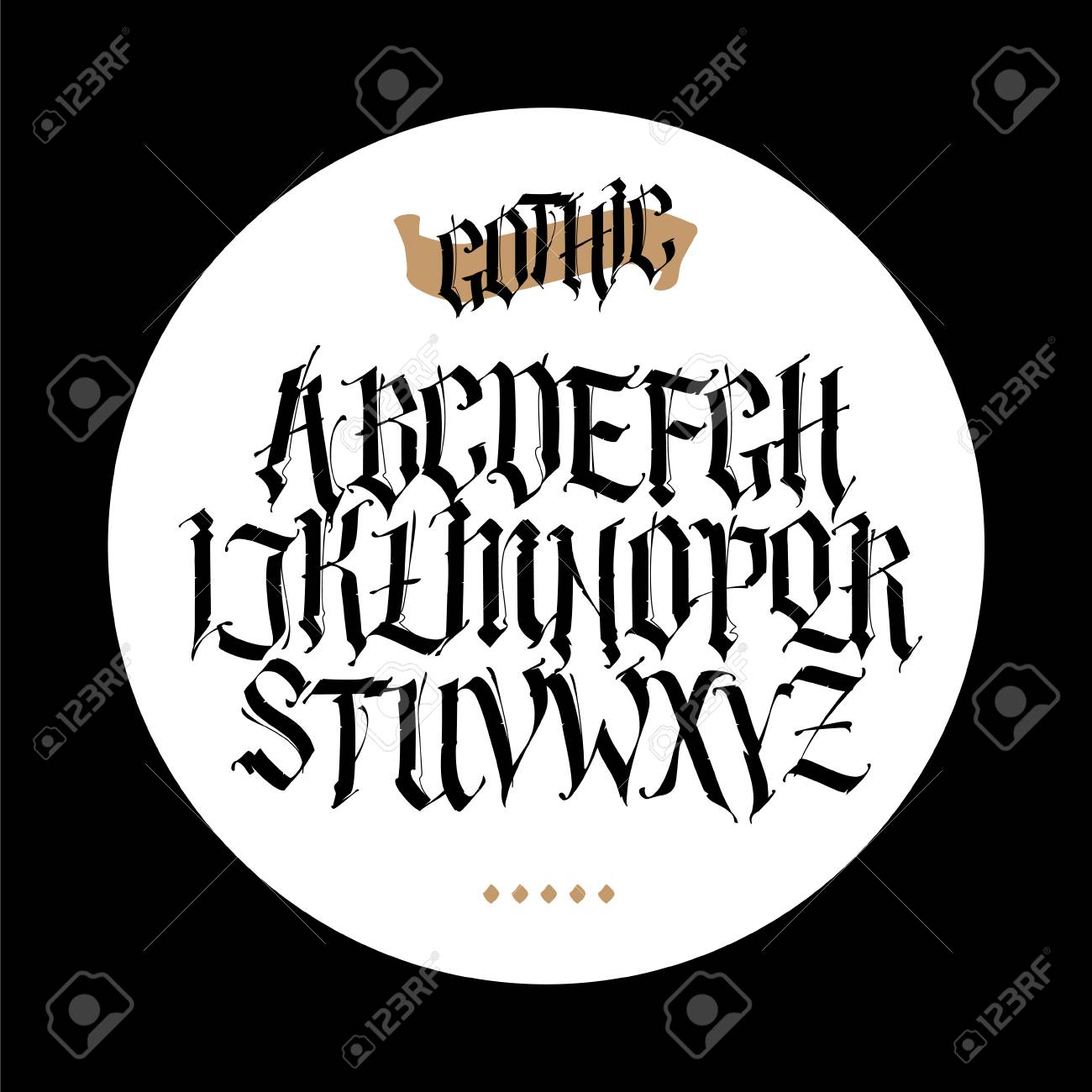 Gothic English Alphabet Vector Set Font For Tattoo Personal