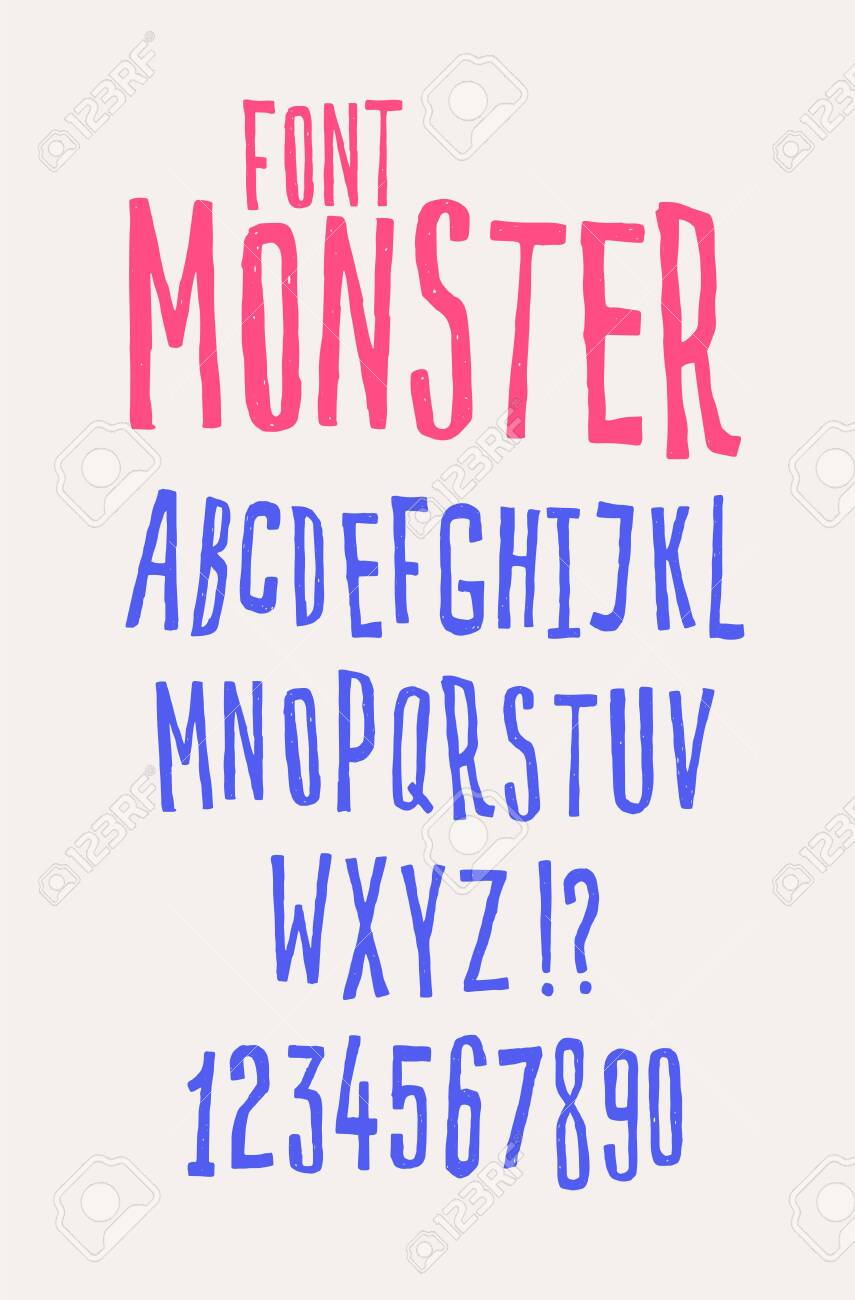 Cheerful friendly font. Vector. The letters are all separately. Set of letters of the English alphabet. Latin characters. Hipster comic style. Font for cafes, shops and promotions. - 120645212