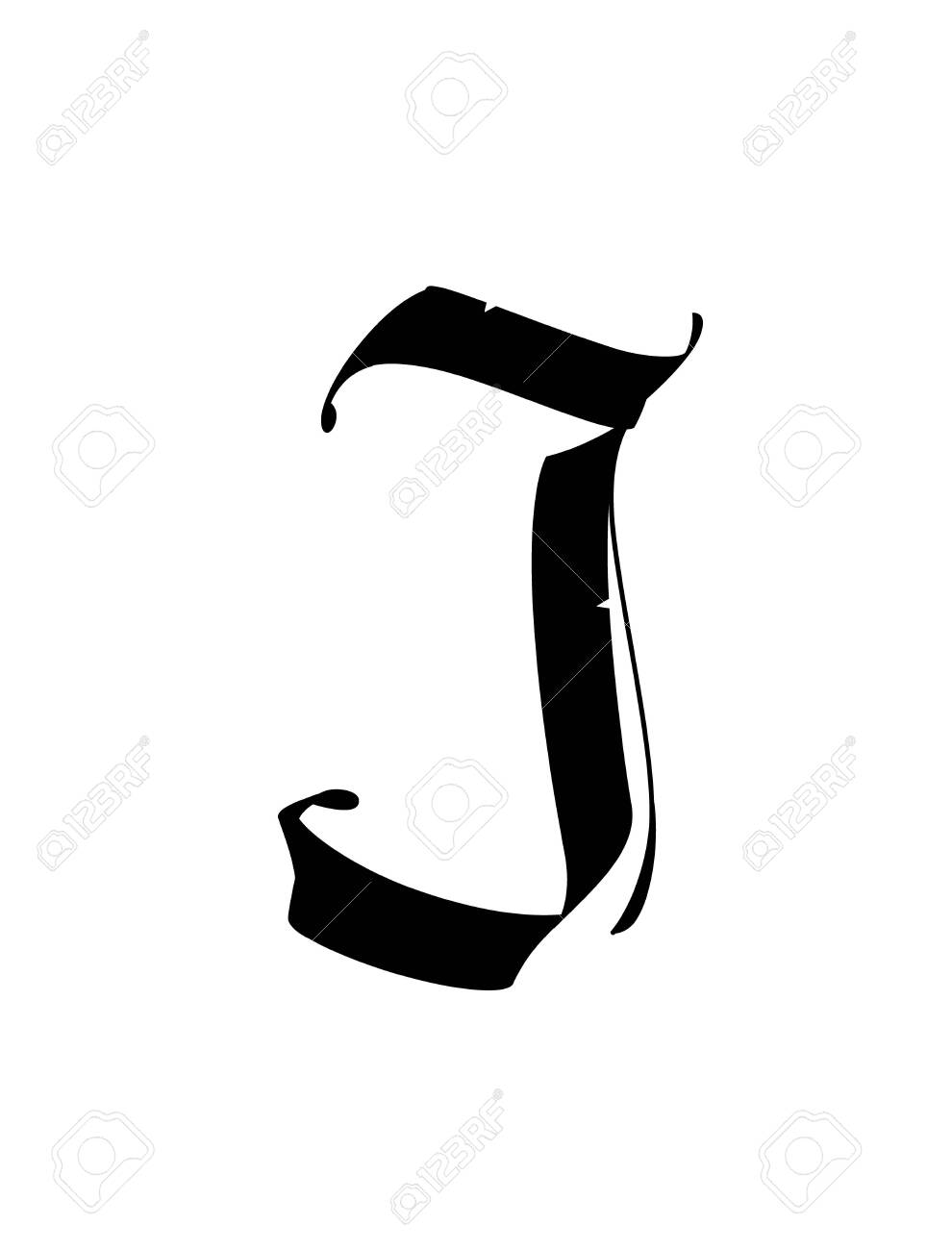 Letter J, in the Gothic style. Vector. Alphabet. The symbol is isolated on a golden background. Calligraphy and lettering. Medieval Latin letter. Logo for the company. Monogram. Elegant font for tattoo. - 132152424