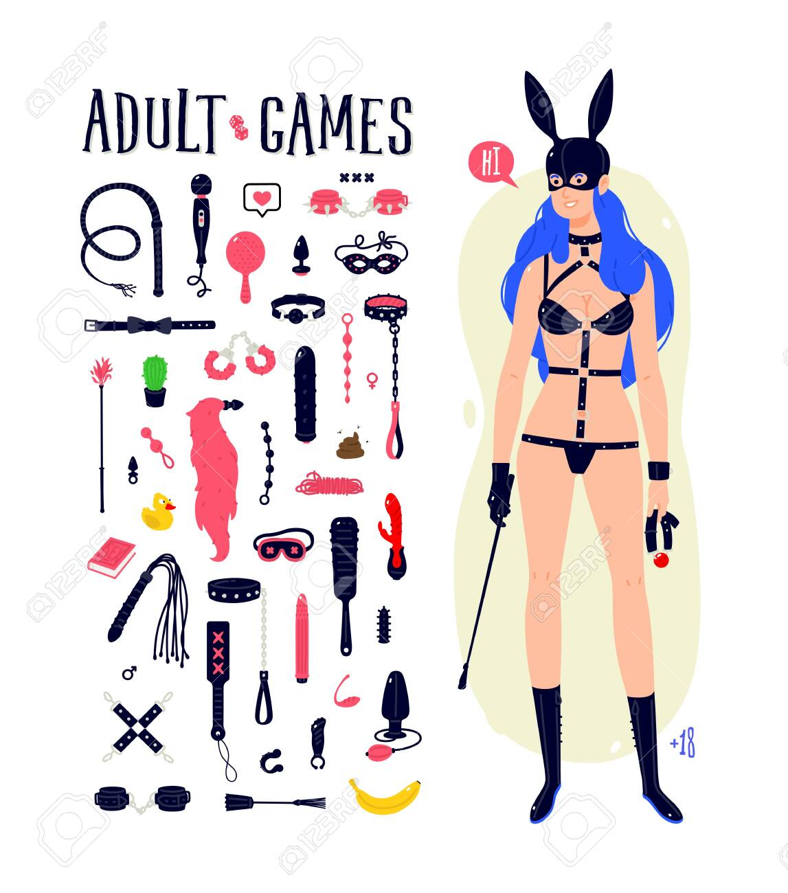 Illustration of a cartoon BDSM girl in a latex rabbit mask. Vector. Madame with blue hair, with a whip and a gag. Icons of toys. Character for an intimate goods store. Flat style. - 136799682