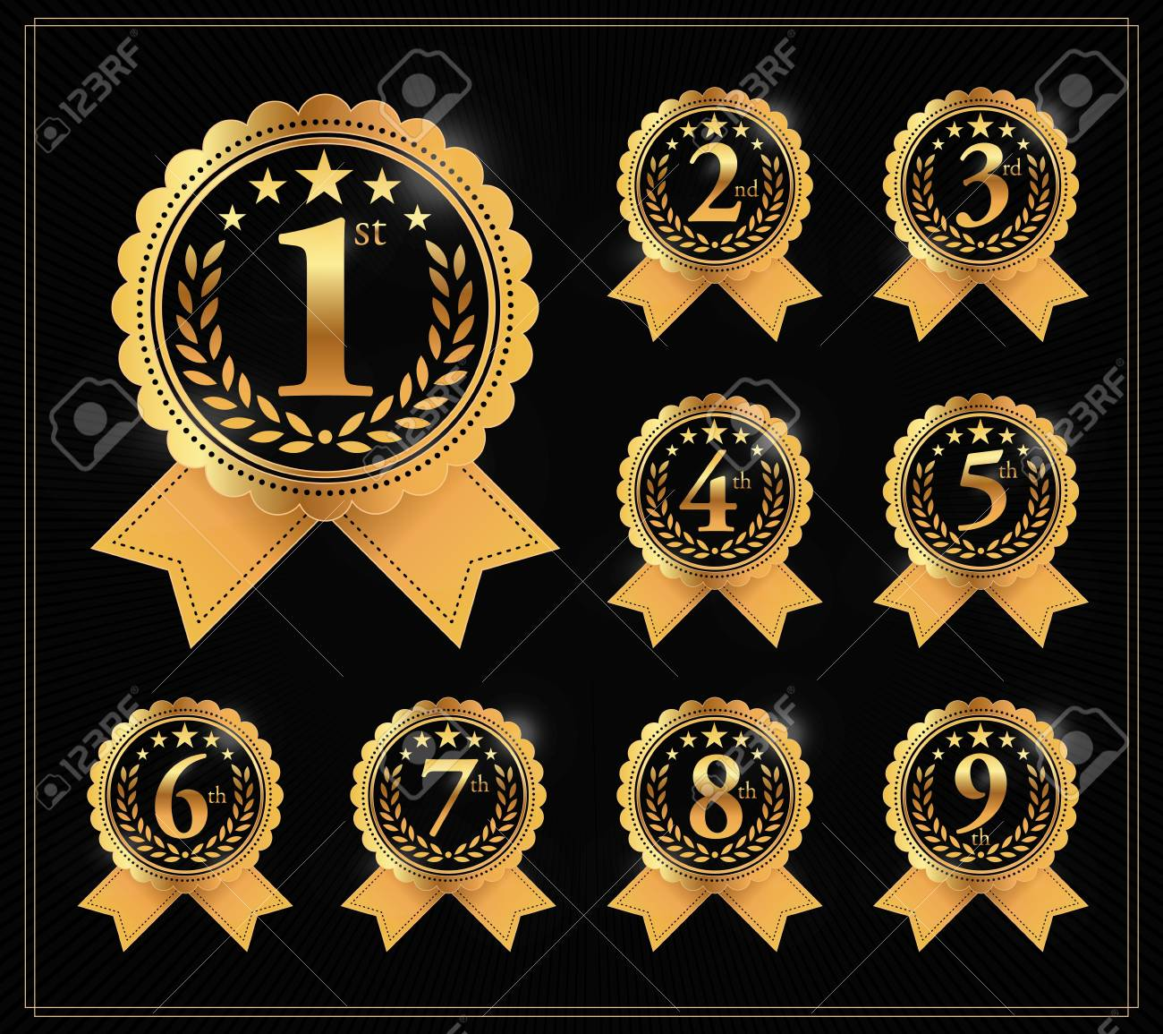 Award golden label of First, second and third winner. 1st, 2nd, 3rd, 4th, 5th, 6th, 7th, 8th and 9th Vector set - 87281597