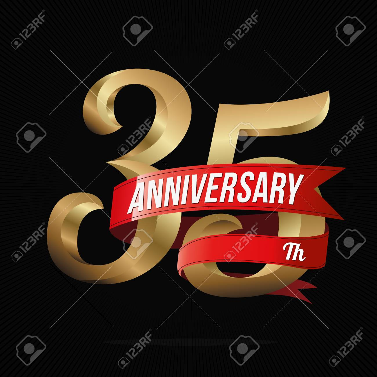 35 Years Anniversary Golden Logo Celebration With Red Ribbon Stock