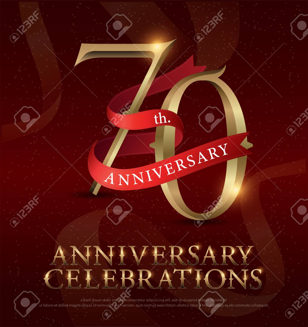 70th years anniversary celebration golden logo with red ribbon on red background. vector illustrator - 92653340