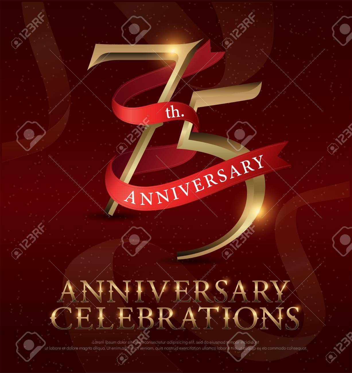 Vettoriale Logo Dorato Di Celebrazione Del 75 Anniversario Con