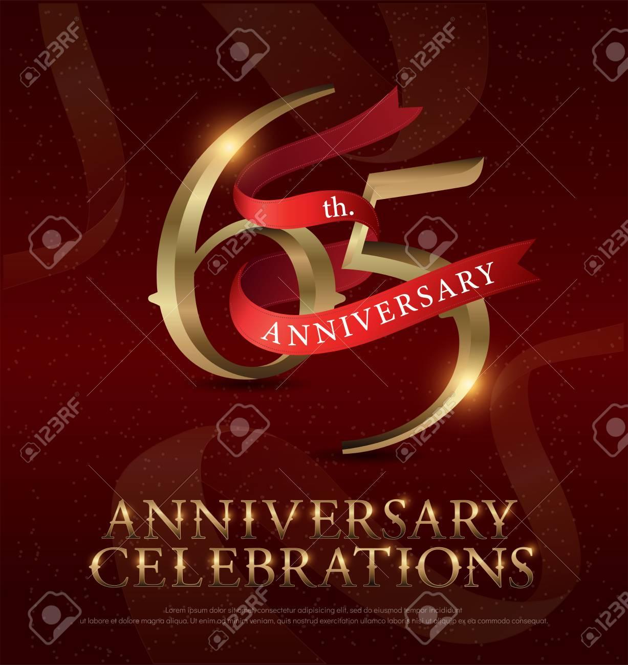 Vettoriale 65 Anniversario Anniversario Celebrazione Logo Con