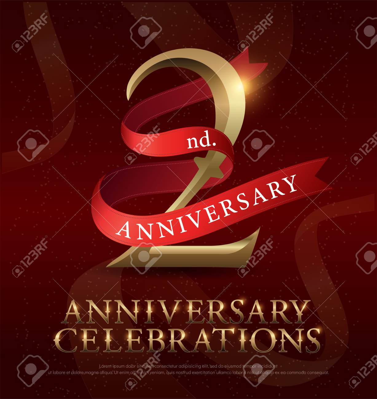 2nd Year Anniversary Celebration Golden Logo With Red Ribbon Royalty Free Cliparts Vectors And Stock Illustration Image 92653385