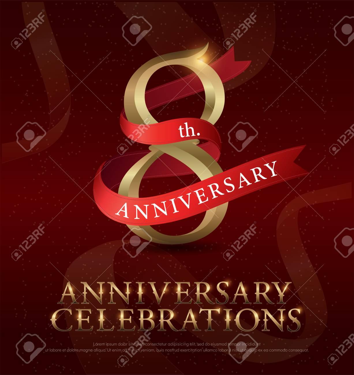 Vettoriale Logo Dorato Di Celebrazione Dell8 Anniversario Con