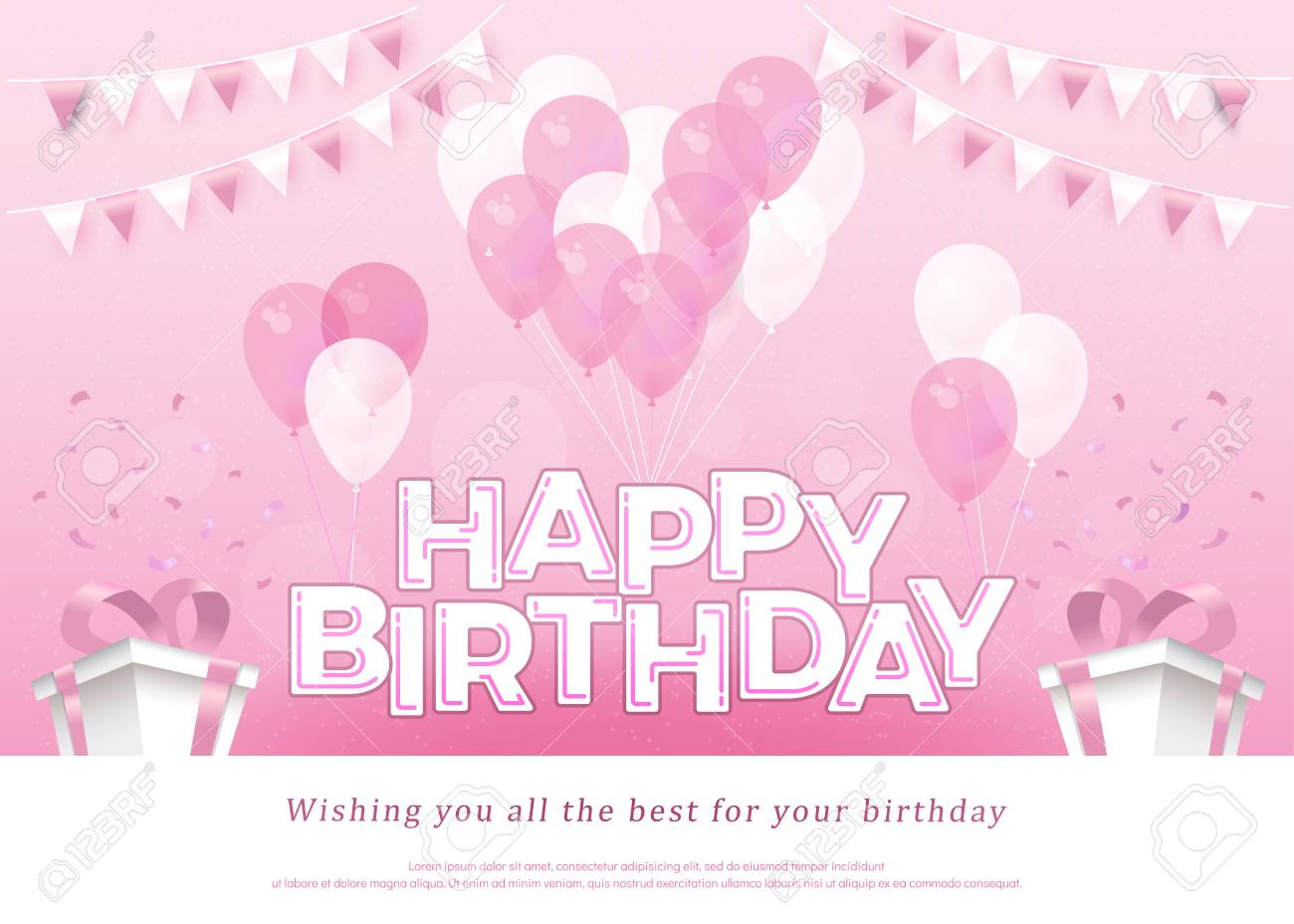 Happy Birthday Pink Greeting Card Lettering Template With Balloon ...