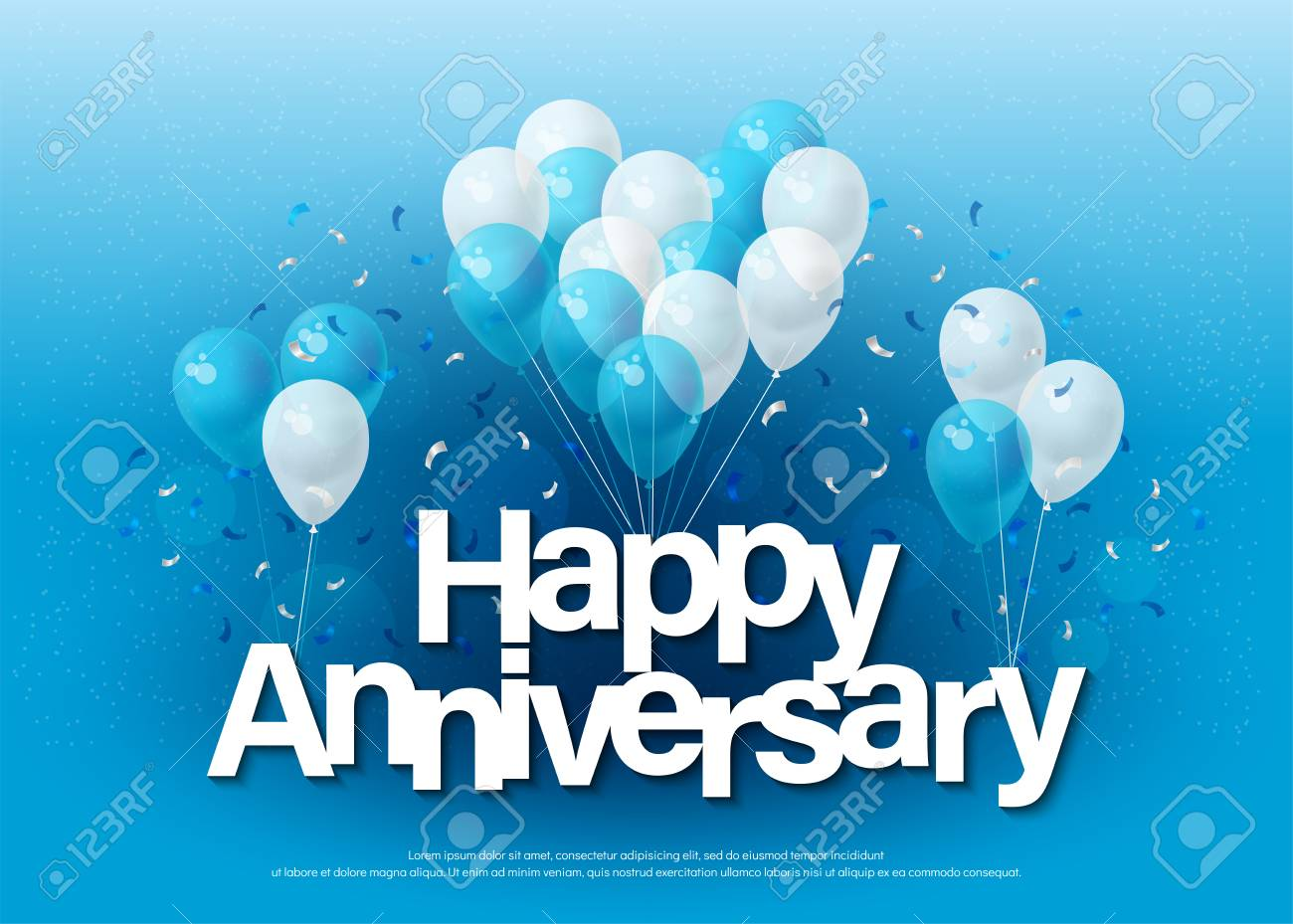 happy anniversary greeting card lettering template with balloon
