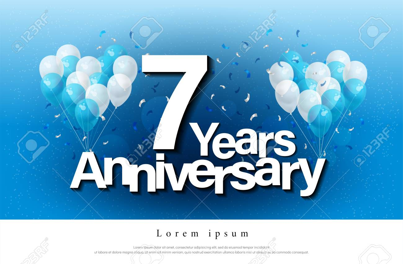 7th Years Anniversary Greeting Card Lettering Template With Balloon