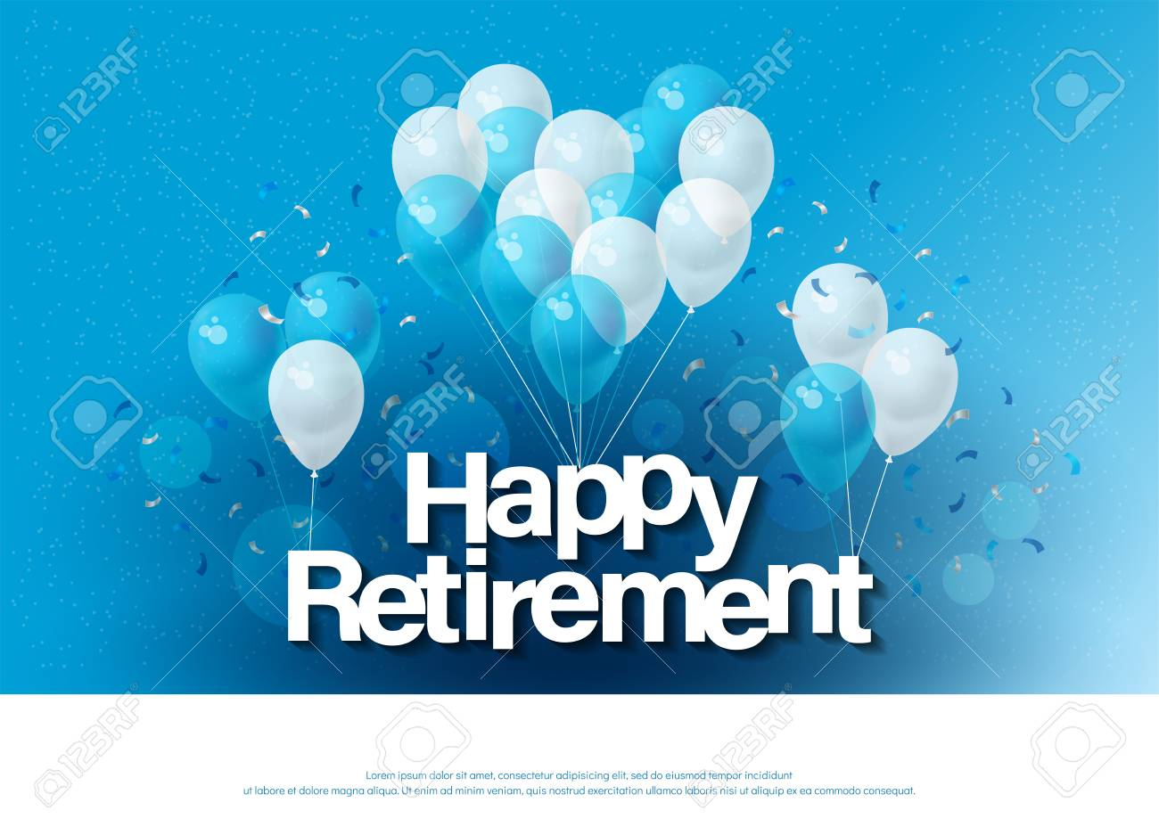 Happy Retirement Greeting Card Lettering Template With Balloon