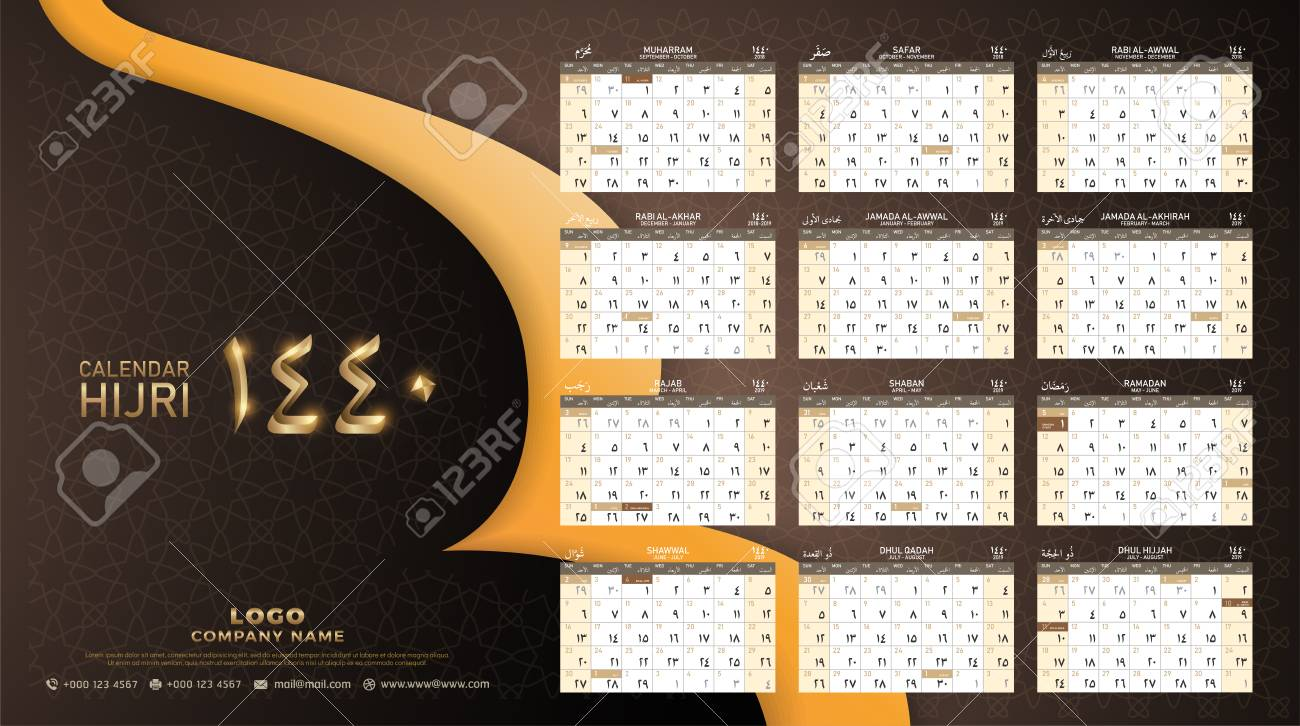 hijri 1440 calendar 2018 2019 design template muharram is the first month of the